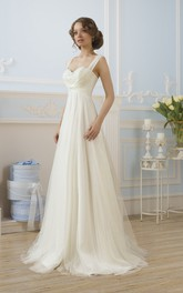 Sleeveless Appliqued Pleats Floor-Length A-Line Tulle Dress