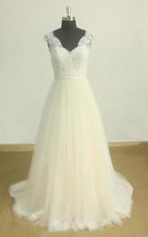 Tulle Open-Back Romantic Pale-Blush-Skirt Dress