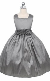 square Sleeveless Taffeta flower girl Dress
