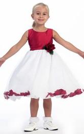Tulle Floral 3-4-Length Flower Girl Dress