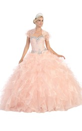 Sweetheart Ruffled Jeweled Strapless Organza Lace-Up Ball Gown