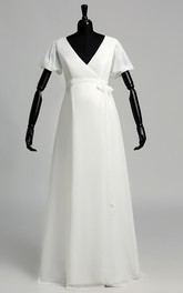 V-neck Short Sleeve Empire Maternity Ruffles Sash Ribbon Wedding Dress