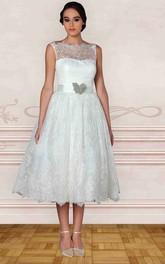 Bateau Lace Sleeveless Tea-length Dress With Embellished Waist