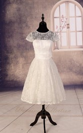 Tea-Length Lace Sheer Bridal Gown