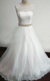 Scoop-neck Sleeveless Lace A-line Wedding Dress With Illusion And Jeweled Waist