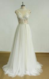 Lace Open-Back Deep-V-Cut Champagne Dress
