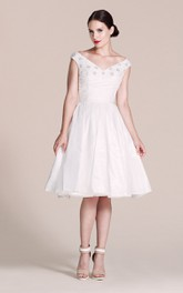 A-Line Pleated Rhinestones V-Neckline Cap-Sleeved Gown