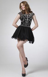 A-Line Short Bateau Short Sleeve Dress With Beading And Pleats