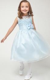 Bowknot Satin Sleeveless Tea-Length Organza Flower Girl Dress