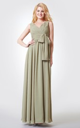 Long Bow Chiffon Straps A-Line Ruched Floor-Length Dress