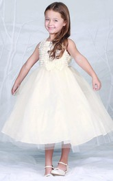 Layered Bowknot Tea-Length Tulle Flower Girl Dress