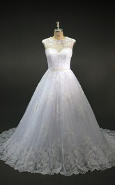 Jewel Neckline Illusion Back A-Line Cap-Sleeve Gown