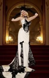 Sweetheart Mermaid Sleeveless Satin Lace Floor-length Court Train Wedding Dress with Corset Back