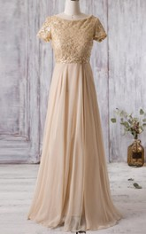 modest Scoop-neck Short Sleeve A-line Bridesmaid Dress With Beading