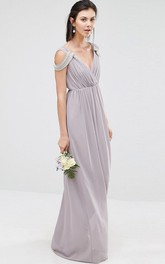 V-neck Sheath Chiffon Long Dress With jewels