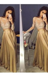 Jewel Satin Lace Long Sleeve Floor-length  Dress