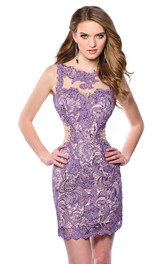 Bateau Sleeveless Lace Pencil Dress With Illusion And Keyhole
