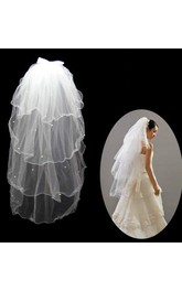 Short Double-Layered Fluffy Wedding Veil with Beading