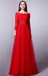 A-line Floor-length Scalloped T-shirt Long Sleeve Tulle Dress with Pleats