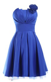 Ruched-Top Pleated Appliqued Strapless Satin Short Gown