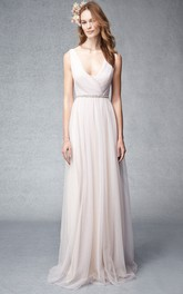 Plunged Sleeveless Chiffon Ruched Bridesmaid Dress With Jeweled Waist