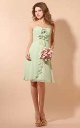 Ethereal Soft Flowing Fabric Short Dress With Ruching And Flower