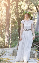 Lace Satin Ribbon Flower Deep-V-Back Jewel Dress
