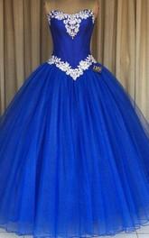 Floor-Length Tulle Straps Appliqued Corset Zipper Back Ball Gown