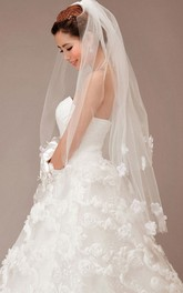 Double Layer Tulle Wedding Veil with Flower Appliques
