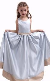 Pleated Scoop Neckline Long Sleeveless Dress