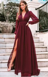 A Line Long Sleeve Chiffon Simple Formal Dress with Pleats and Split Front
