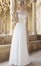 Bateau Half Sleeve Lace Tulle Wedding Dress With Illusion And Sweep Train