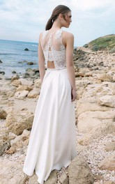 Halter Chiffon Satin Lace Wedding Dress