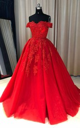 Off-the-shoulder Lace Tulle Short Sleeve Floor-length Beading Pleats Embroidery Dress