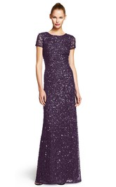 Short Sleeve scoop-neck Sequined Dress