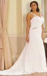 V-neck Chiffon Criss cross plus size wedding dress With Beading And Court Train
