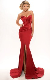 Mermaid/Trumpet Sweetheart Split Front Satin Dress