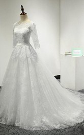 Tulle Illusion Wedding Scalloped A-Line Lace Dress