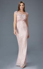 Column Appliqued Long Scoop-Neck Lace Cap-Sleeve Keyhole Dress