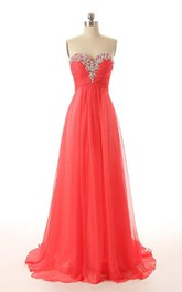 Chiffon Decorated Neck Sweetheart Romantic Gown