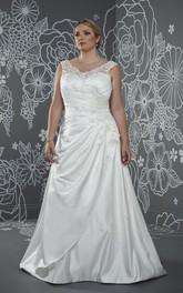 Sleeveless Low-V-Back Draping Floor-Length A-Line Side Brush-Train Gown
