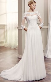 Bateau 3-4-sleeve Tulle Appliqued Dress With Illusion