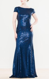 Bateau Short Sleeve Sequined Sheath Dress With Low-V Back
