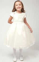 Bowknot Satin Cap-Sleeve 3-4-Length Organza Flower Girl Dress