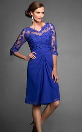 V-neck Illusion Half Sleeve Knee-length Dress With Appliques And central Ruching