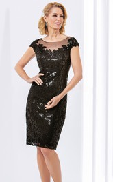 Scoop-neck Cap-sleeve Pencil Mother of the Bride Dress With Sequins