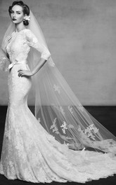 3-4-sleeve Mermaid Lace Wedding Dress With Chapel Train And Appliques