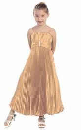 Pleated Ankle-Length Spaghetti Satin Flower Girl Dress