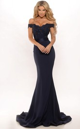 Mermaid Off-the-shoulder Backless Dress With Sweep train