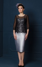 Illusion-Sleeve Midi-Length Pencil Satin Mother Of The Bride